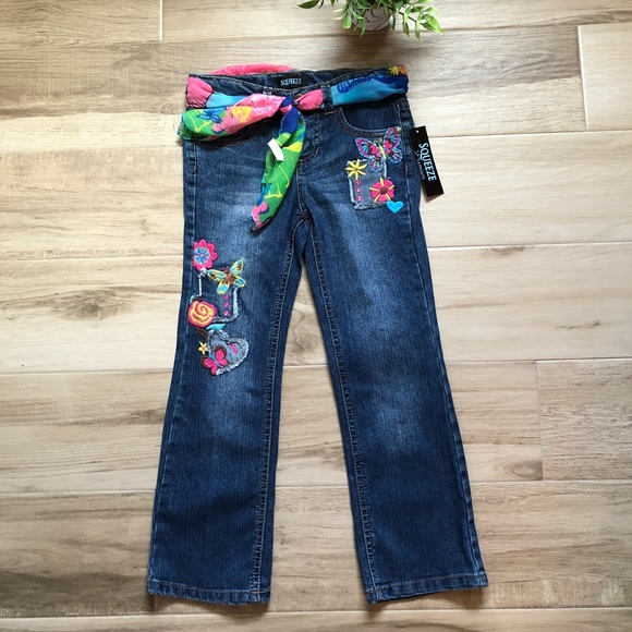 NWT Squeeze Heart Embroidered Skinny Jeans Girl/'s size 6